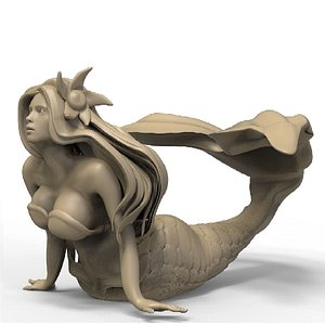3D mermaid sculpture model