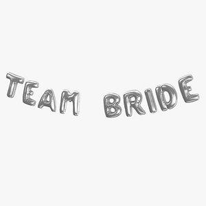 Foil Baloon Words Team Bride Silver model