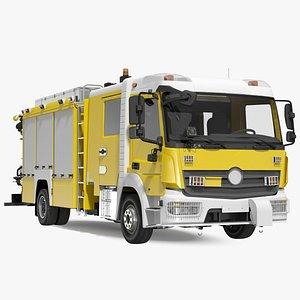 Modern Fire Truck Simple Interior 3D