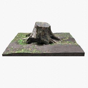 Tree Stump PBR Scan Retopo model