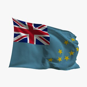 3D Realistic Animated Flag - Microtexture Rigged - Put your own texture - Def Tuvalu