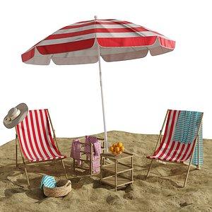 3D Beach lounge outdoor set 11 model