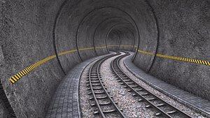 3D model Modular Tunnel with Rail