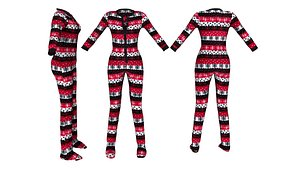 Women's Footed Onesie 3D model