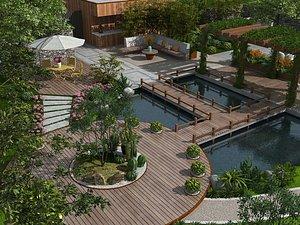 Villa garden luxury villa courtyard villa garden landscape luxury villa entrance garden rear garden 3D model