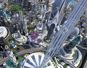 3D future city futuristic architecture