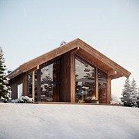 Log Cabin Snow Complete Scene