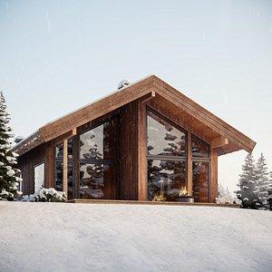 3D Log Cabin Snow Complete Scene model