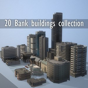 20 bank buildings collection Low-poly 3D model