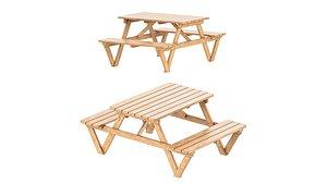 Picnic garden table bench model