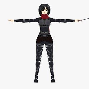 3D Mikasa Ackerman - Shingeki no Kyojin model