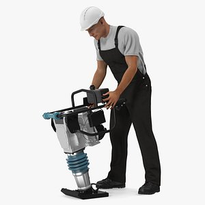 Construction Worker with Tamping Rammer model
