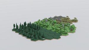 Cartoon hexagonal islands model