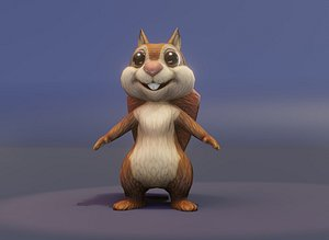 Cartoon Squirrel Rigged 3D Model model
