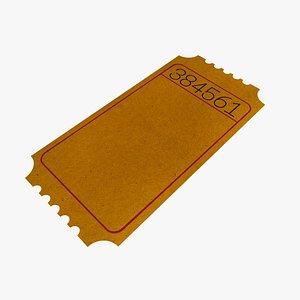 Orange Ticket Cardboard Coupon Pass 3D model