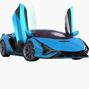 3D Generic Supercar 2022 Opening doors model