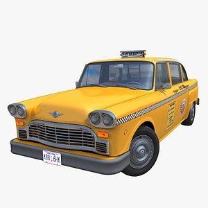 Vintage yellow taxi cab PBR 3D model