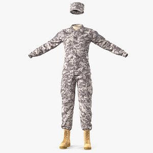 3D female soldier military acu