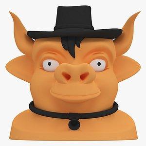 3D cow head model