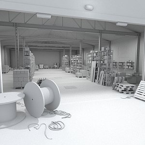3D model Logistics and storage Warehouse Scene 01a - Stylised