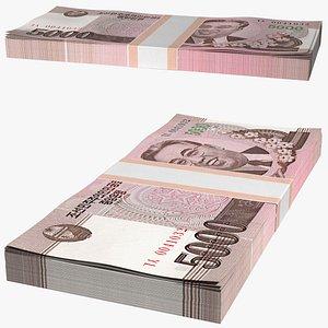 3D North Korea 5000 Won Banknotes 2008 Pack
