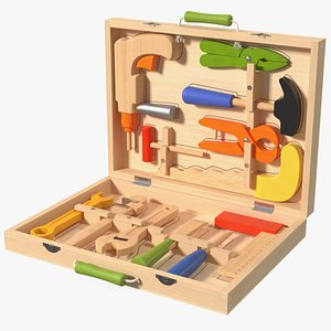 3D Wood Tool Box with Colorful Wooden Tools model