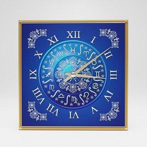 3D model Wall clock Horoscope