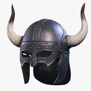 free viking horned helmed low-poly 3d model