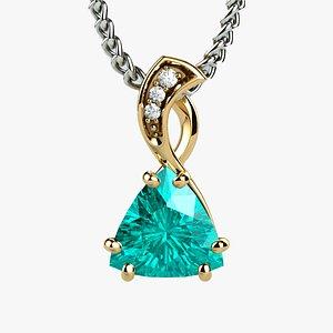 Topaz Trillion Cut Gem Gold Pendant model