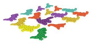 Dinosaur Pop It Fidget Toys Set 3D model