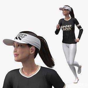 Sportswear Asian Woman Jogging 3D