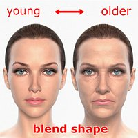 Morphing Young Elder Woman Heads Female