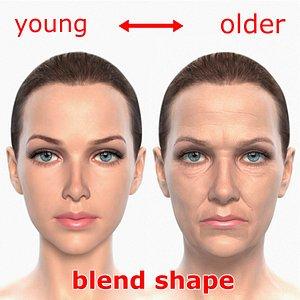 3d blending young older realistic female