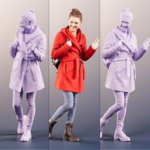 red coat waving model