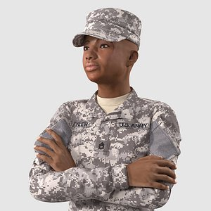 3D Black Female Soldier ACU Rigged for Cinema 4D