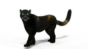 Fur Black Panther Rigged Blender 3D model