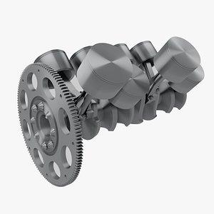 Animated V6 Engine Pistons