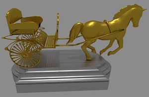 3D carriage horse statues model