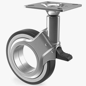 Hub Free Swivel Caster with Brake 3D model