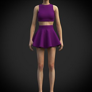 3D Female table tennis outfit model