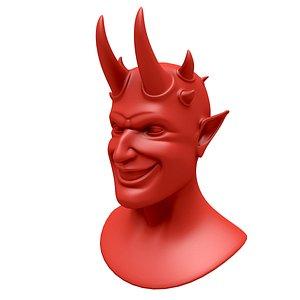 3D Satan head with horns model