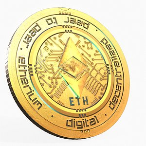 3D Ethereum Cryptocurrency Coin