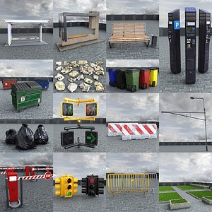 3D Street Elements Collection model