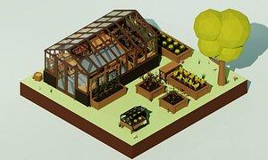 cartoon planters farm pack 3D model