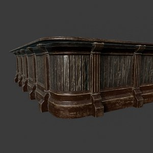 3D Old Saloon Counter