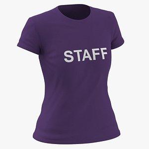 3D Female Crew Neck Worn Purple Staff 01 model