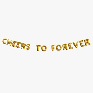 3D Foil Baloon Words CHEERS TO FOREVER Gold
