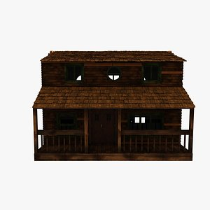 3D wood house cabin model
