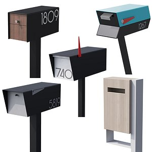 3D 042 Modern Mailboxes 02 Floormounted 00