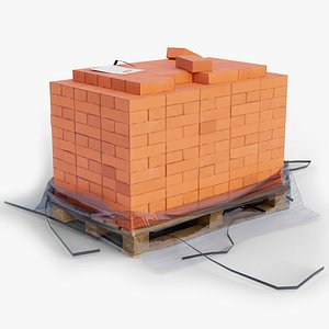 3D model pallet bricks used gameready